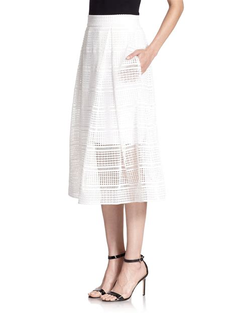 nicholas geometric lace a line skirt in white lyst