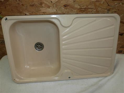 cream kitchen sink kitchen cream enamel sink drainer caravan motorhome boat