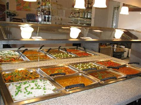 a wide variety of indian food on the lunch buffet at delhi