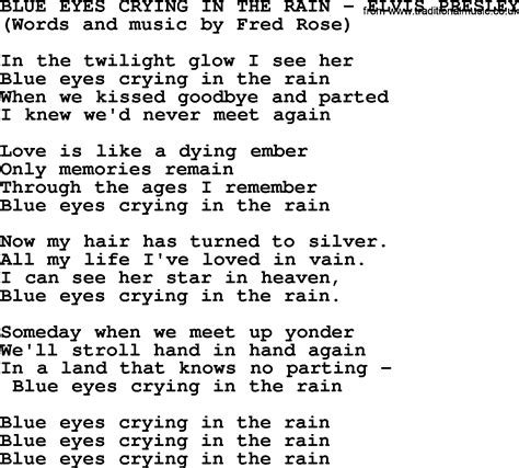 printable elvis lyrics blue eyes crying in the rain by elvis presley lyrics