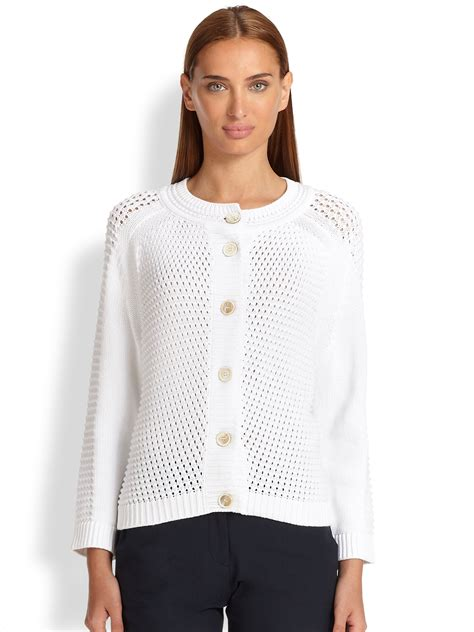 Cardigan 112226001 White Knitted white knit cardigan creative and innovative crafts