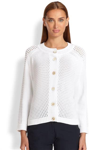 White Knit Cardigan 19834 piazza sempione open knit cotton cardigan in white