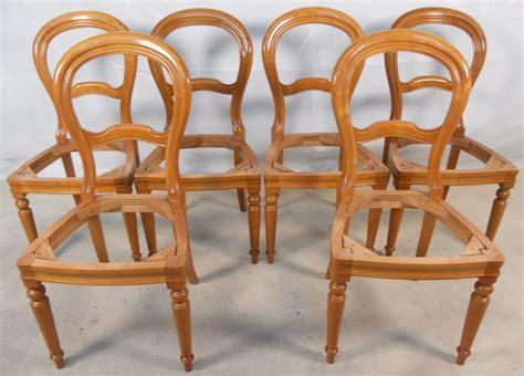 sold set of six cherry wood balloon back dining chairs