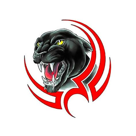 tribal panther face black and red tattoo design