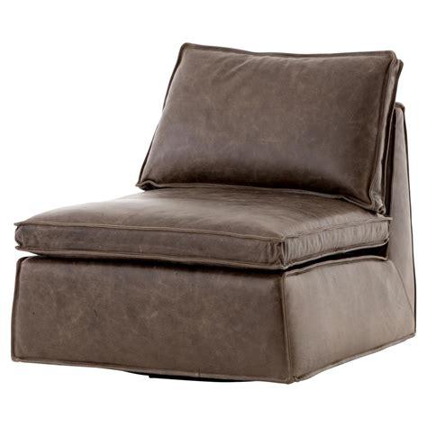 modern swivel lounge chair essa modern rustic espresso leather armless swivel lounge