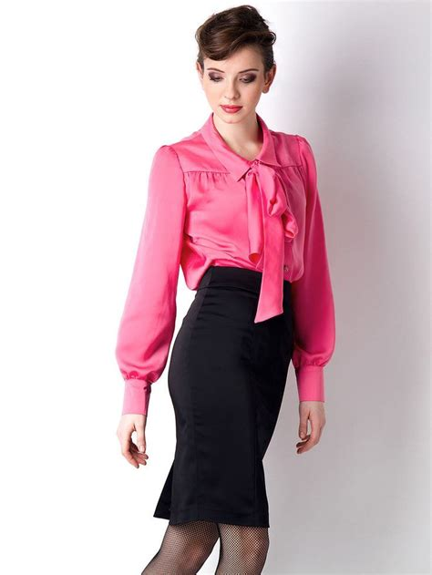 black satin pencil skirt pink satin bow blouse and black
