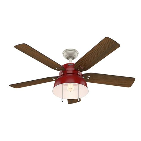 red ceiling fans with lights hunter duncan 52 in led indoor fresh white ceiling fan