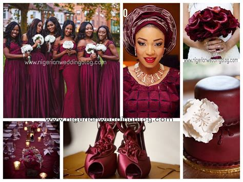 Maroon & cream Nigerian wedding colors #