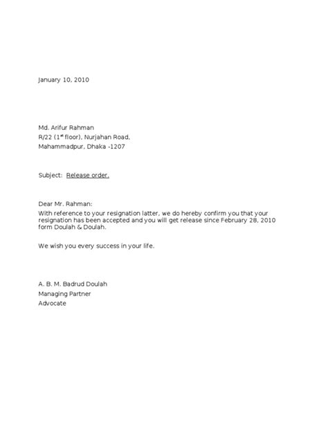 Resignation Letter Sle With Early Release Release Letter