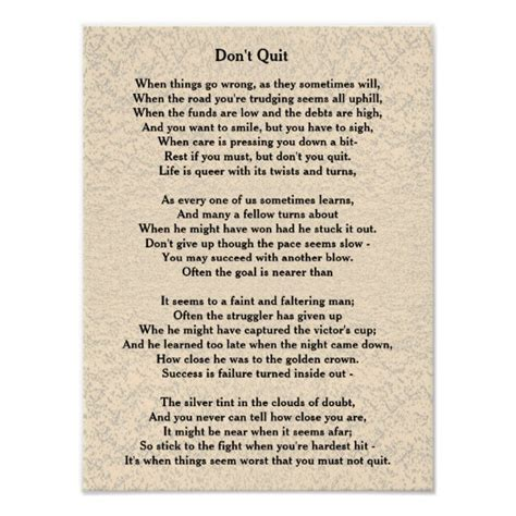 Don T Quit don t quit poem poster zazzle