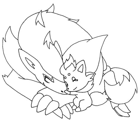 pokemon coloring pages of zorua zorua and meema 1 by methuselah alchemist on deviantart