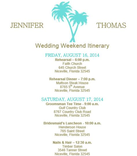 Wedding Itinerary Template Lisamaurodesign Wedding Itinerary Template