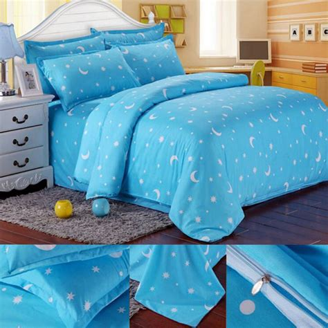 moon bed sheets cotton blue stars moon printing bedding set bed sheet