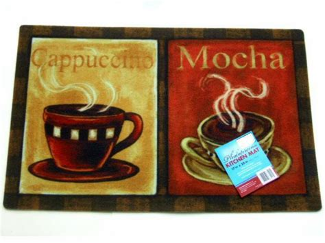 Coffee Kitchen Mat by Coffee Cups Kitchen Rug Cappuccino Mocha Mat