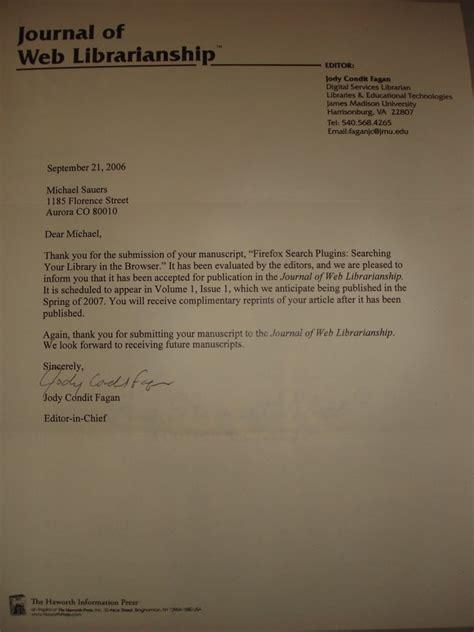 Acceptance Letter For Article Publication Throwback Thursday Article Accepted Acceptance Letters Jmu Letter Sle