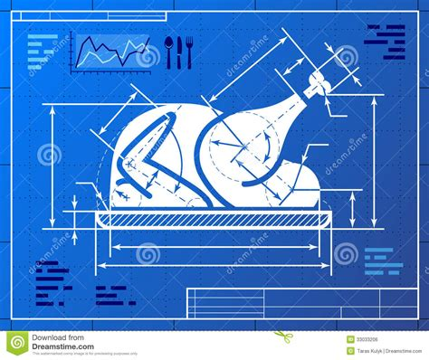 online blueprints christmas whole turkey symbol like blueprint drawi stock