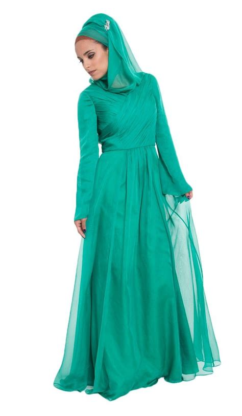 Maxi Green Muslimah emerald green silk chiffon islamic formal dress with