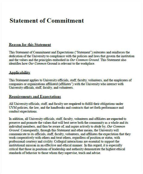 commitment statement template images exle