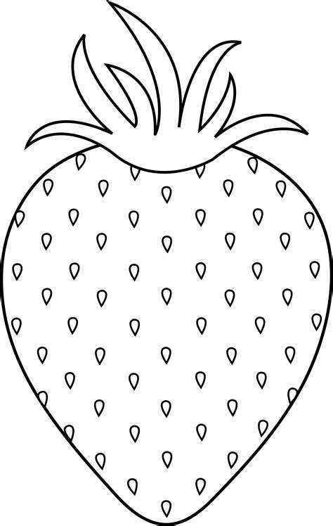 Strawberry Outline Drawing by Strawberry Colorable Lineart Free Clip