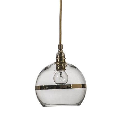 Glass Globes For Pendant Lights Clear Glass Globe Pendant Light With Gold Metallic Stripe