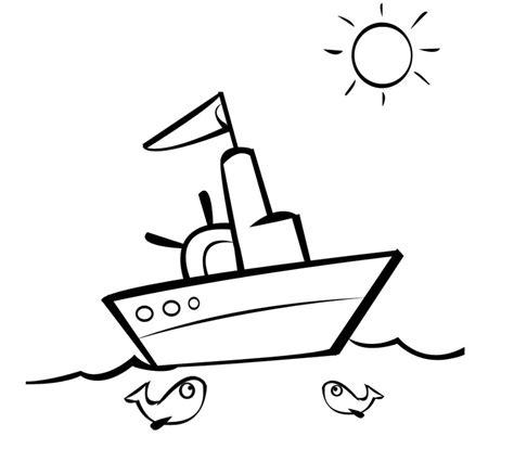 dibujo barco con olas barco navegando en un d 237 a soleado para imprimir y colorear