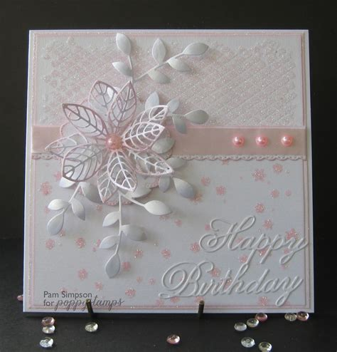 Cutting Dies Happy Birthday Card Patern pamscrafts feminine glitter and pearls