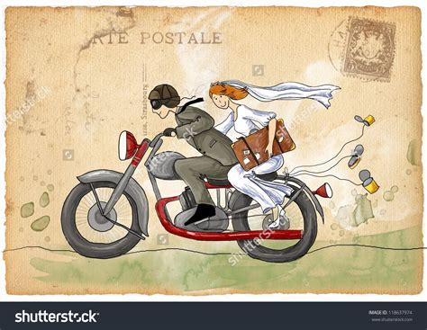 Wedding On Motorcycle Clipart by And Groom On Motorcycle Clipart 65