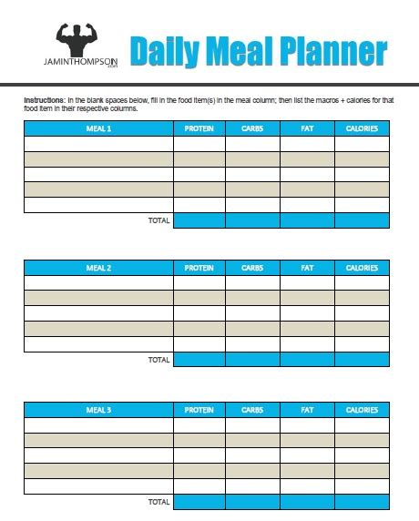 Macro Meal Planner Template Free Printable Meal Plan Template Meal Planning Jaminthompson Com