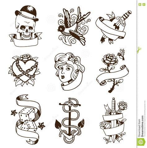 old vintage tattoo vector set stock vector illustration