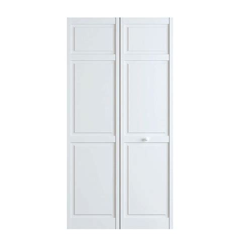 24 X 72 Interior Door Bay 24 In X 80 In White 6 Panel Solid Wood Interior Closet Bi Fold Door
