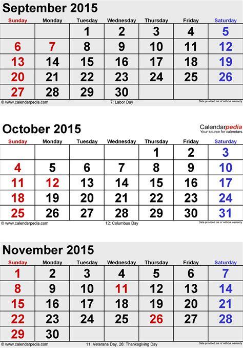 printable monthly calendar november and december 2015 template 6 3 months calendar october november december