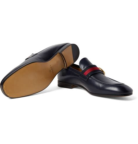 Gucci Shoes 868 1a lyst gucci webbing trimmed leather loafers in blue for