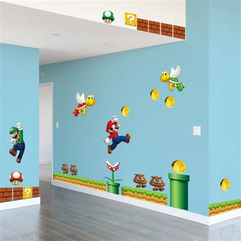adhesive wall stickers mario diy wall stickers self adhesive removable home decor picture for