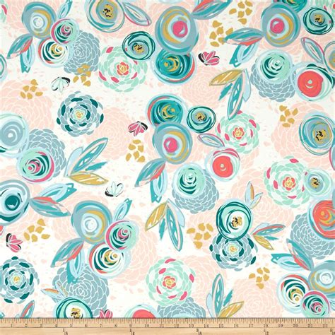 best printable fabric art gallery jersey knit chalk paint sprayed blooms