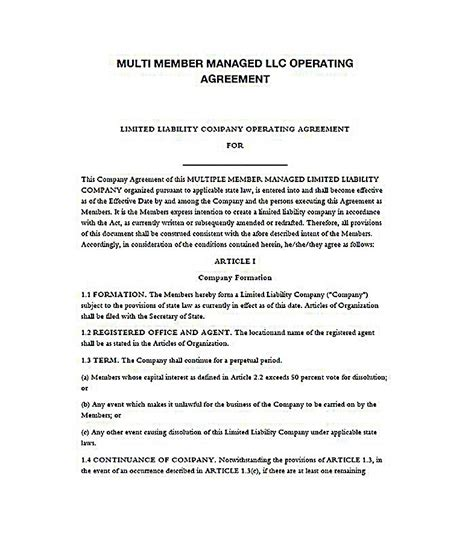 23 Llc Operating Agreement Template Ny Llc Operating Agreement Template