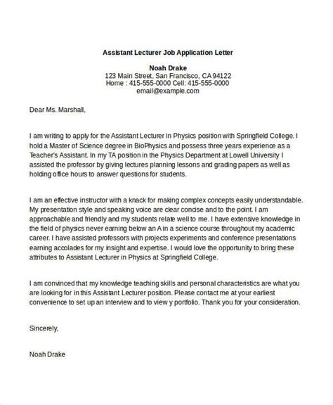 lecturer cover letter application letter format for lecturer