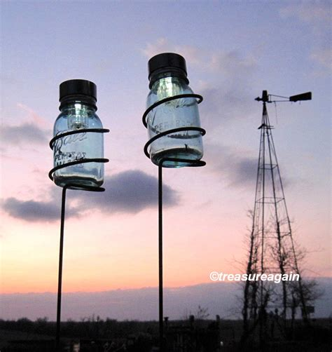 Jar Patio Lights by Jar Garden Stakes 2 Holders With Jar Solar Lights