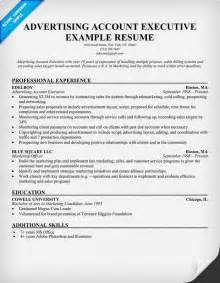 Advertising Resume Templates by Sle Resume Format Accounts Executive Sle Resume