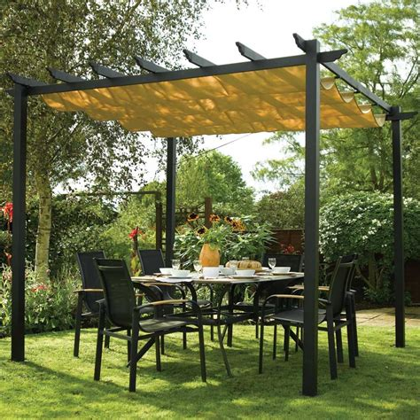 Garden Canopies And Awnings Canopy Sun Shade Retractable Gun Metal Grey