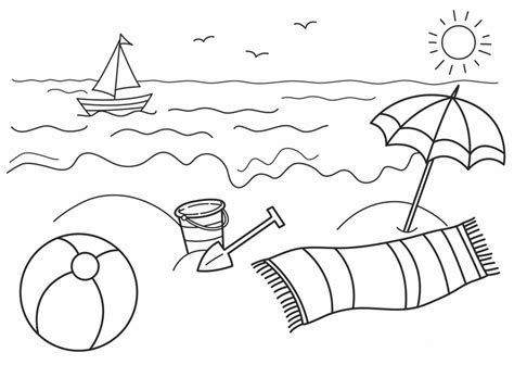 beach coloring pages preschool at the beach colouring page 9803 bestofcoloring com