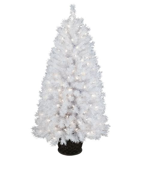 winter white potted artificial white christmas tree