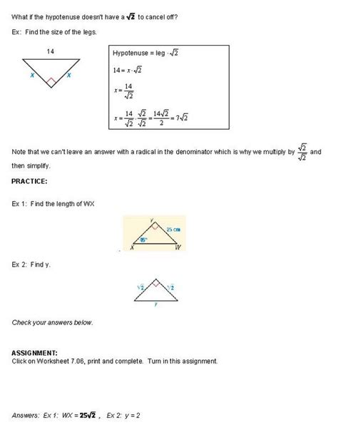 45 45 90 Triangle Worksheet by Special Right Triangles 45 45 90 Worksheet Photos Getadating