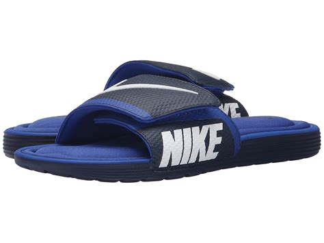 white nike comfort slides nike solarsoft comfort slide in blue for men lyst