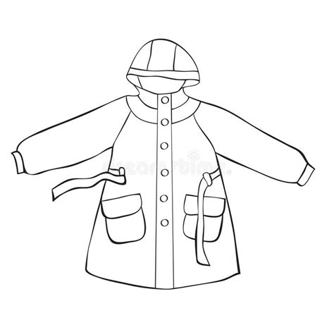 rain jacket coloring page rain coat stock vector illustration of sketch painting