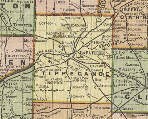 Tippecanoe County Search Tippecanoe County Indiana 1908 Map Lafayette