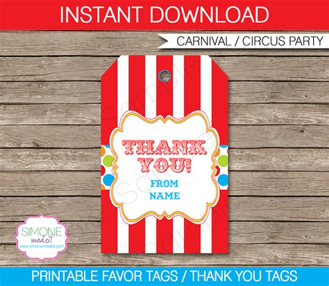 thank you favor tags template carnival favor tags template thank you tags