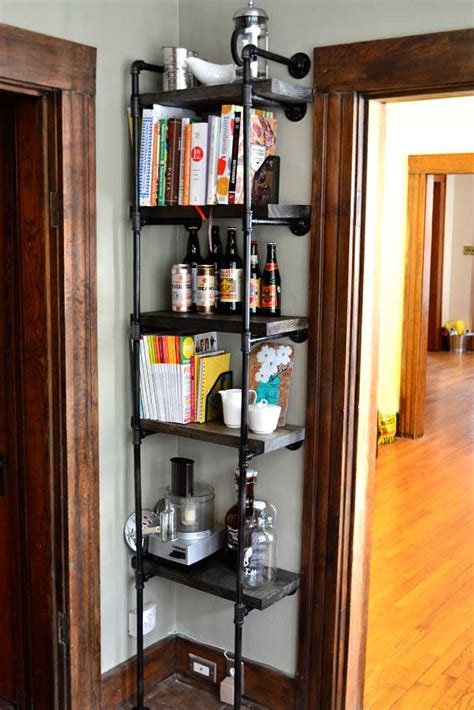 diy rustic industrial kitchen shelf