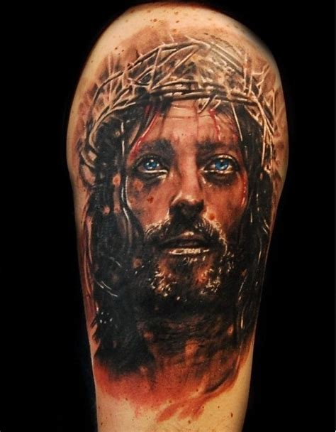 jesus face tattoos realistic 3d jesus design idea by tomasz tofi