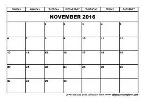 November Calendar Template by November 2016 Calendar Printable Template Calendar