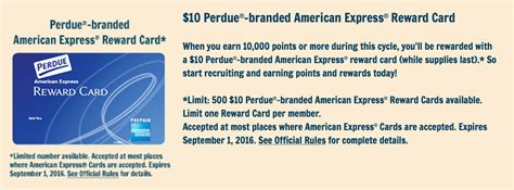 American Express Gift Card Special Offers - it s back free 10 american express reward card from perdue simple coupon deals